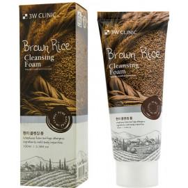 Пенка для умывания натуральная КОРИЧНЕВЫЙ РИС 3W CLINIC Brown Rice Foam Cleansing 100 мл