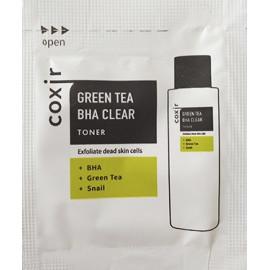 ПРОБНИК Тонер COXIR отшелушивающий с зеленым чаем и BHA-кислотами 2мл