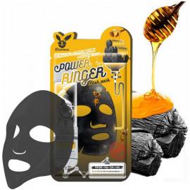 Тканевая маска Elizavecca очищающая Black Charcoal Honey Deep Power Ringer Mask Pack купить