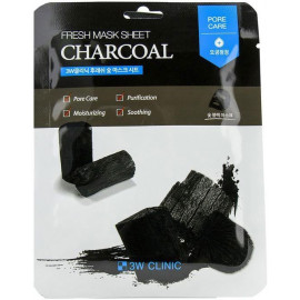 Тканевая маска 3W CLINIC УГОЛЬ Fresh Charcoal Mask Sheet 23 мл