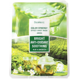 Тканевая маска DEOPROCE с алоэ и зеленый чай COLOR SYNERGY EFFECT SHEET MASK GREEN 20 гр
