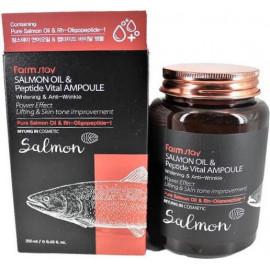 Многофункциональная ампульная сыворотка Farm Stay с маслом лосося и пептидами 250 мл в интернет магазине