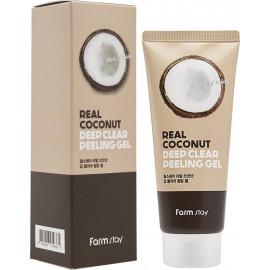Пилинг-скатка FarmStay  с кокосовым маслом Real Coconut Deep Clear Peeling Gel 100 мл