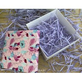 Коробка подарочная 15 см * 15 см Цветы на розовом