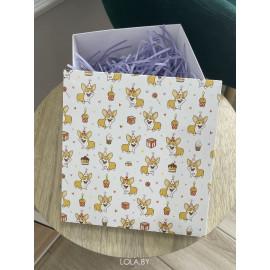 Коробка подарочная 15 см * 15 см корги