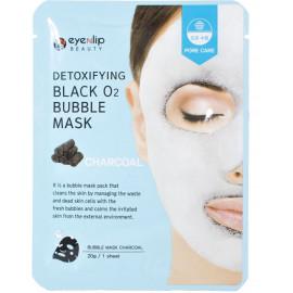 Маска тканевая кислородная Eyenlip DETOXIFYING BLACK O2 BUBBLE MASK CHARCOAL 20гр