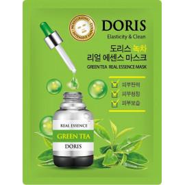 Тканевая маска для лица DORIS ЗЕЛЕНЫЙ ЧАЙ GREEN TEA Real Essence Mask