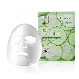 Тканевая маска для лица ОГУРЕЦ 3W CLINIC Fresh Cucumber Mask Sheet