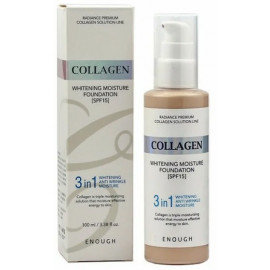 Тональная основа Enough Collagen 3 in 1 Whitening Foundaion SPF15 21 тон 100 мл