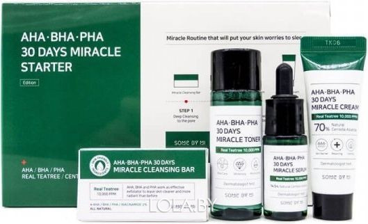 Набор средств SOME BY MI AHA.BHA.PHA 330 Days Miracle Starter Kit мыло, тонер, сыв-ка, крем