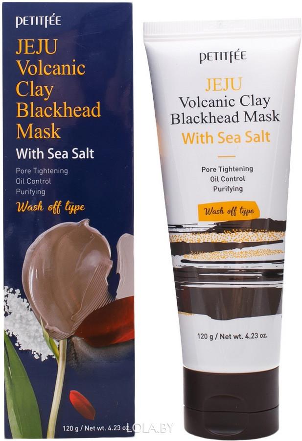 Маска Petitfee с вулканическим пеплом и морской солью Jeju Volcanic Clay Blackhead Mask 120гр
