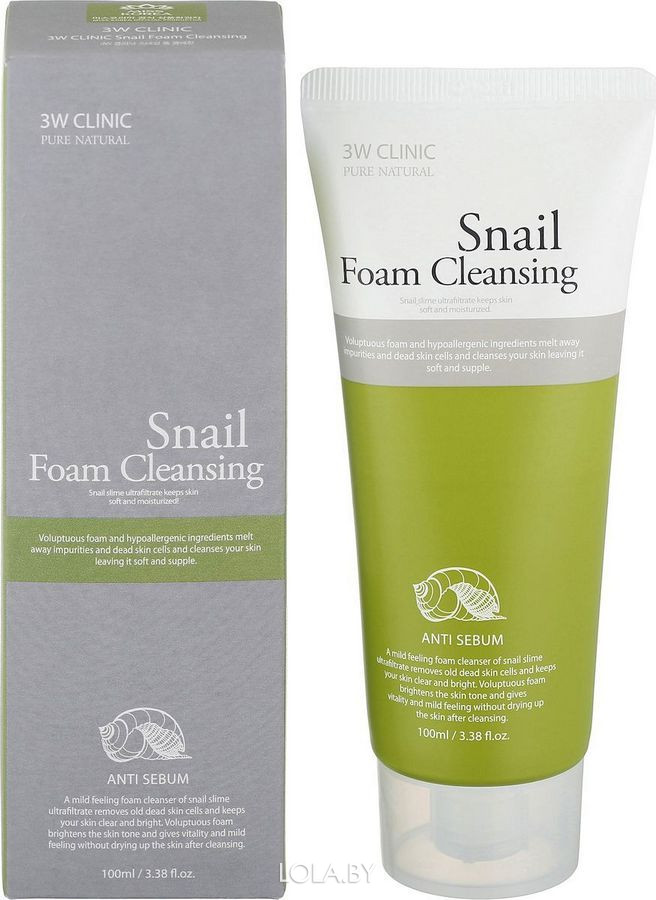Пенка для умывания 3W CLINIC УЛИТОЧНЫЙ МУЦИН Snail Foam Cleansing 100 мл