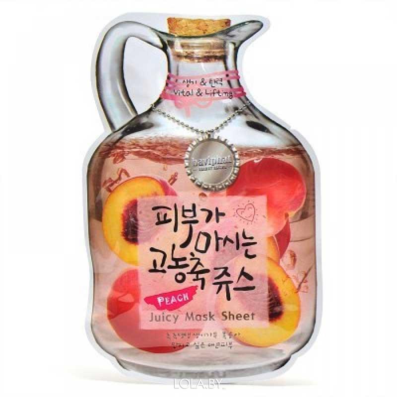 Тканевая маска для лица BAVIPHAT фруктовая Peach Juicy Mask Sheet (Vital & Lifting)