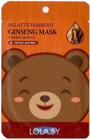 Тканевая маска для лица MILATTE с экстрактом красного женьшеня FASHIONY GINSENG MASK SHEET