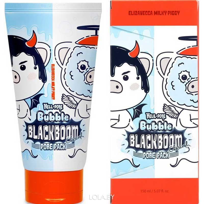 Маска для лица ELIZAVECCA кислородная для очищения пор Hell-Pore Bubble blackboom pore pack 150мл