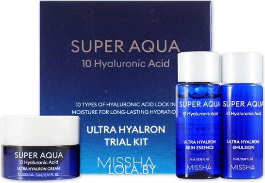Набор MISSHA Super Aqua Ultra Hyalron Trial Kit Miniature set Тонер/Эмульсия/Крем