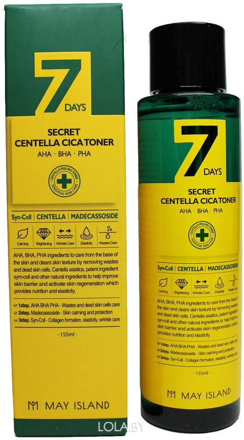 Тонер MAYISLAND с АНА/ВНА/РНА кислотами и центеллой 7 days secret centella cica toner 155 мл
