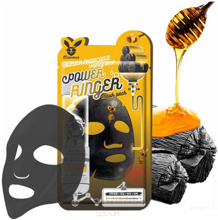 Тканевая маска Elizavecca очищающая Black Charcoal Honey Deep Power Ringer Mask Pack