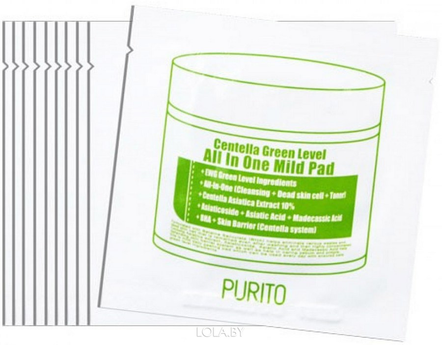 Пилинг-диски Purito с центеллой Centella Green Level All In One Mild Pad 1 шт