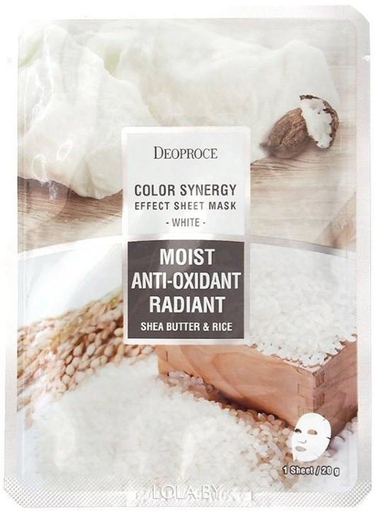 Тканевая маска DEOPROCE с маслом ши и рисовой водой COLOR SYNERGY EFFECT SHEET MASK WHITE 20 гр