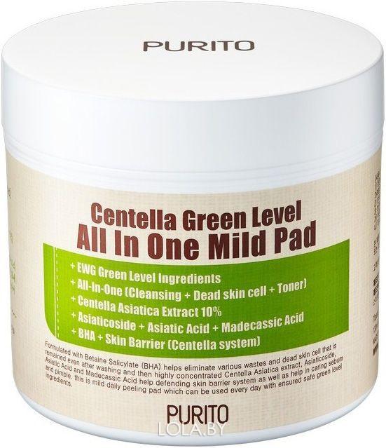Пилинг-диски Purito с центеллой азиатской Centella Green Level All In One Mild Pad 70 шт