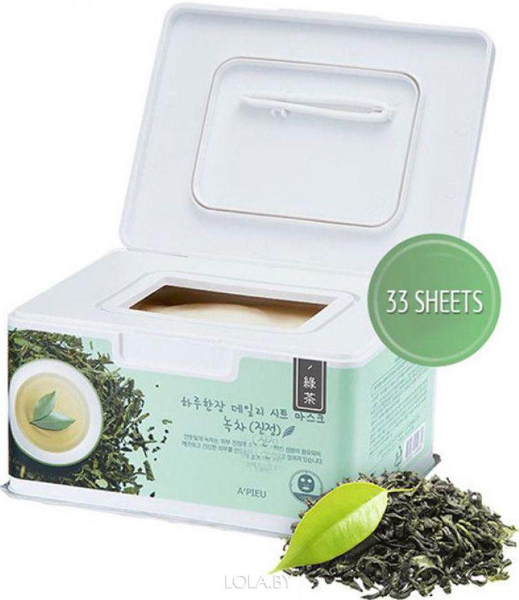 Маска для лица A'pieu тканевая набор Dailyheet Mask Green Tea/Soothing 350гр