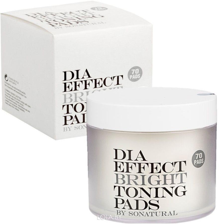 Очищающие пилинг-спонжи So Natural выравнивающие тон кожи Dia Effect Bright Toning Pads 70 шт
