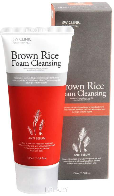 Пенка для умывания 3W CLINIC КОРИЧНЕВЫЙ РИС Brown Rice Foam Cleansing 100 мл