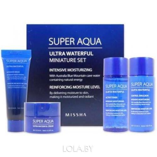 Набор MISSHA мини Тоник/Эмульсия/Эссенция/Крем Super Aqua Ultra Waterful Miniature