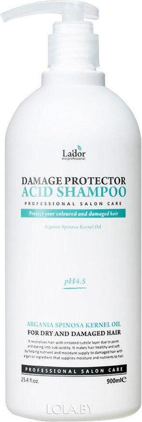 Шампунь Lador Damage Protector Acid Shampoo с коллагеном и аргановым маслом 900мл
