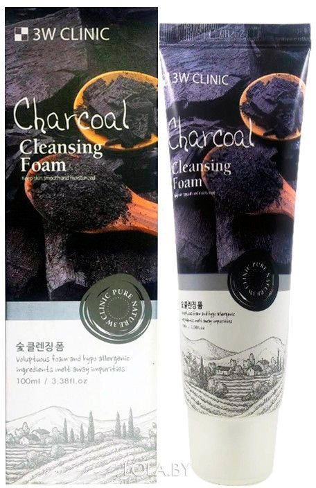 Пенка для умывания 3W CLINIC с древесным углем Charcoal Foam Cleansing 100 мл