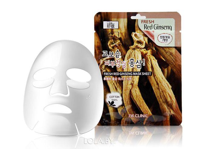 Тканевая маска для лица КРАСНЫЙ ЖЕНЬШЕНЬ 3W CLINIC Fresh Red Ginseng Mask Sheet