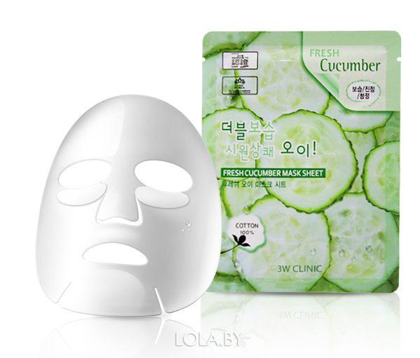 Тканевая маска для лица ОГУРЕЦ 3W CLINIC Fresh Cucumber Mask Sheet